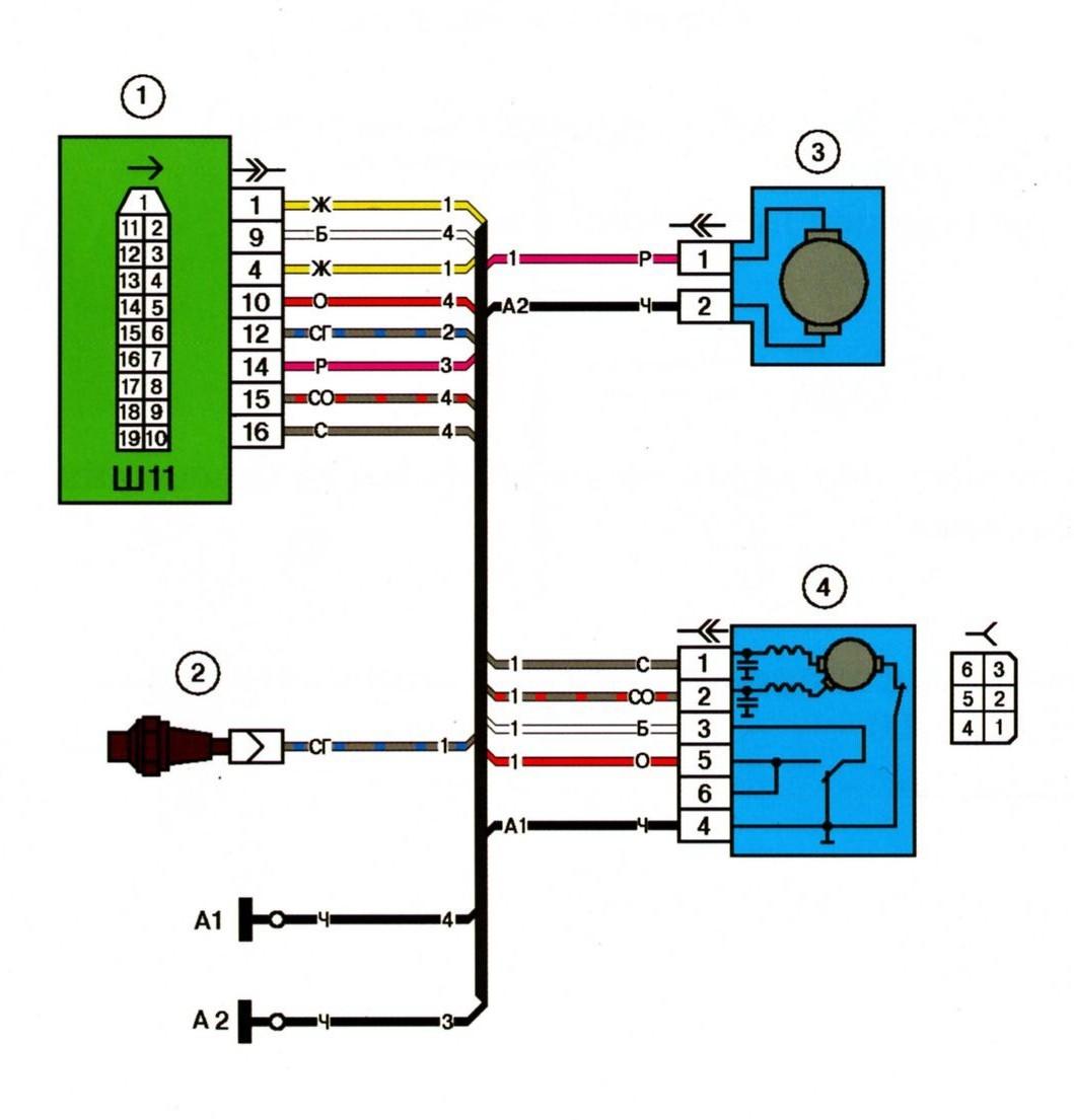 Схема электрических соединений жгута проводов коробки воздухопритока автомобиля ВАЗ 2115.