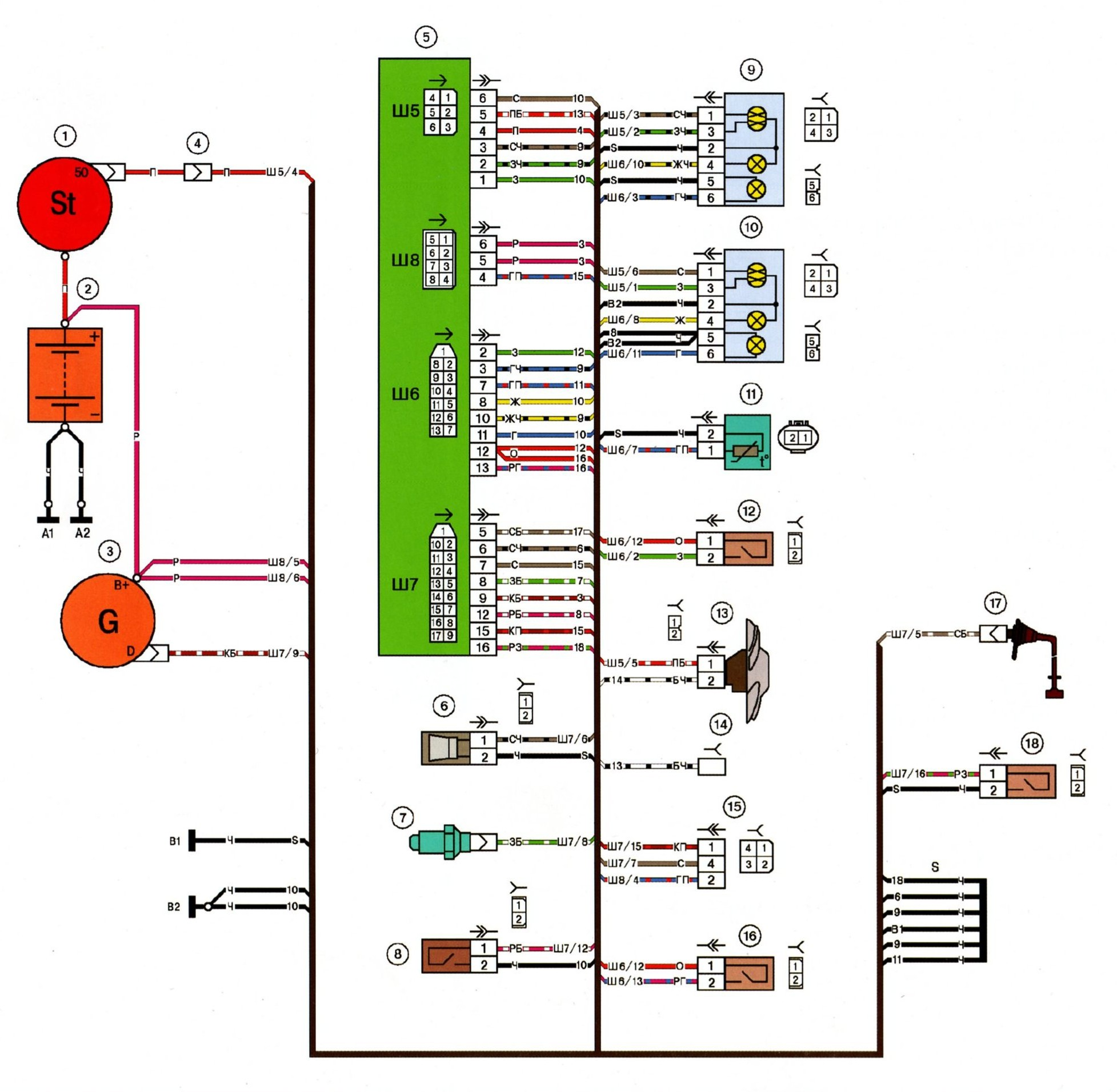 схема проводки щитка приборов ваз 2109