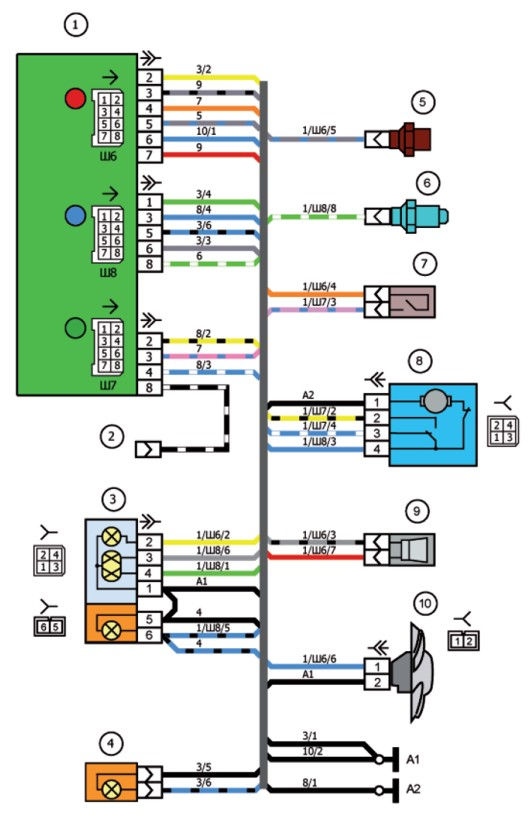 Схема соединений проводов в электрогитаре