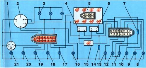 Схема соединений комбинации приборов.