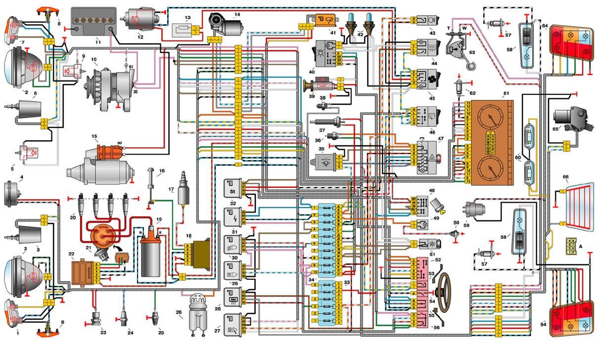Рис. 7-1.  Схема электрооборудования автомобилей ВАЗ-21213: 1 - левый передний фонарь; 2 - фары; 3...