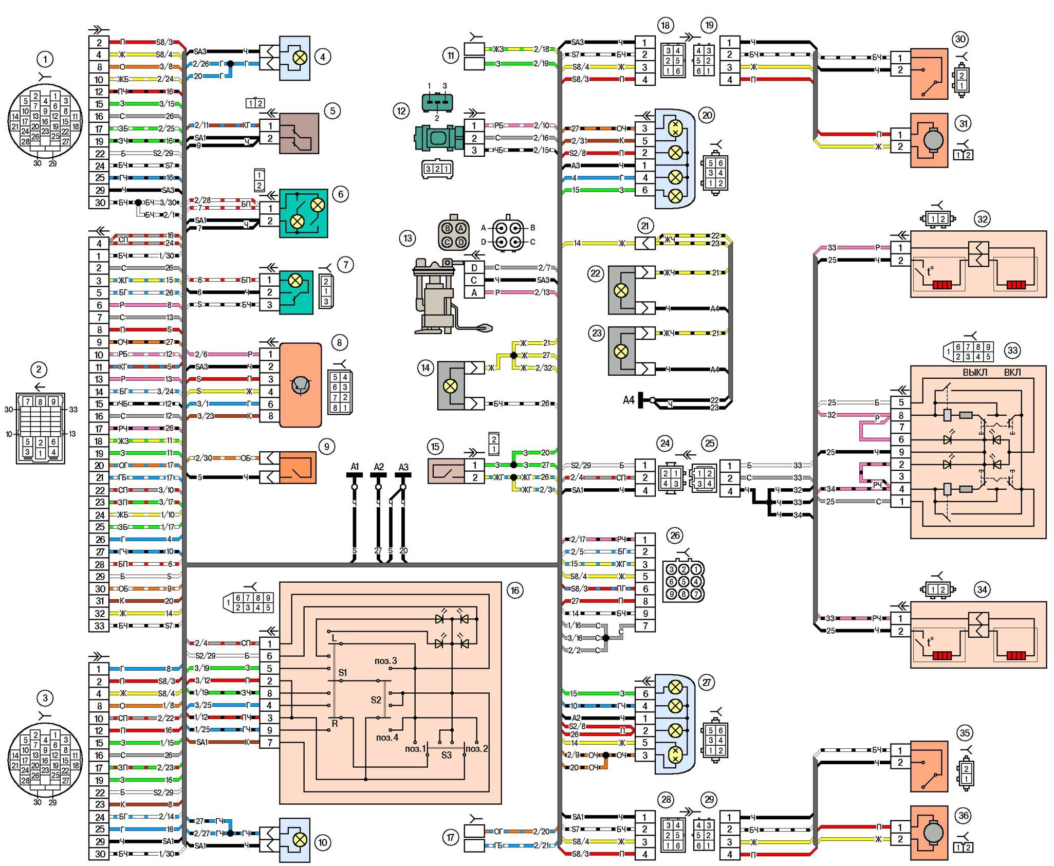 Электро схема приборов панелей нива шевроле.