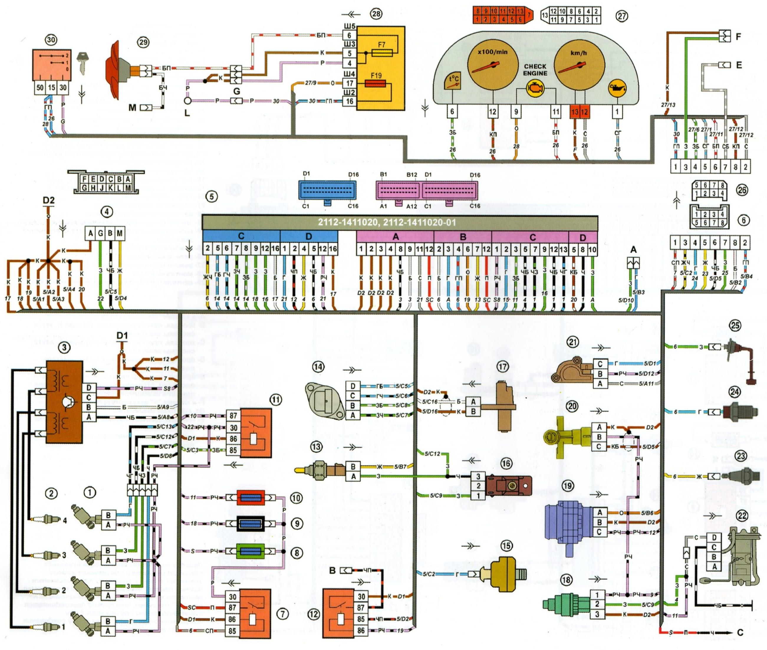 Схема бортовой компьютер ваз 21102