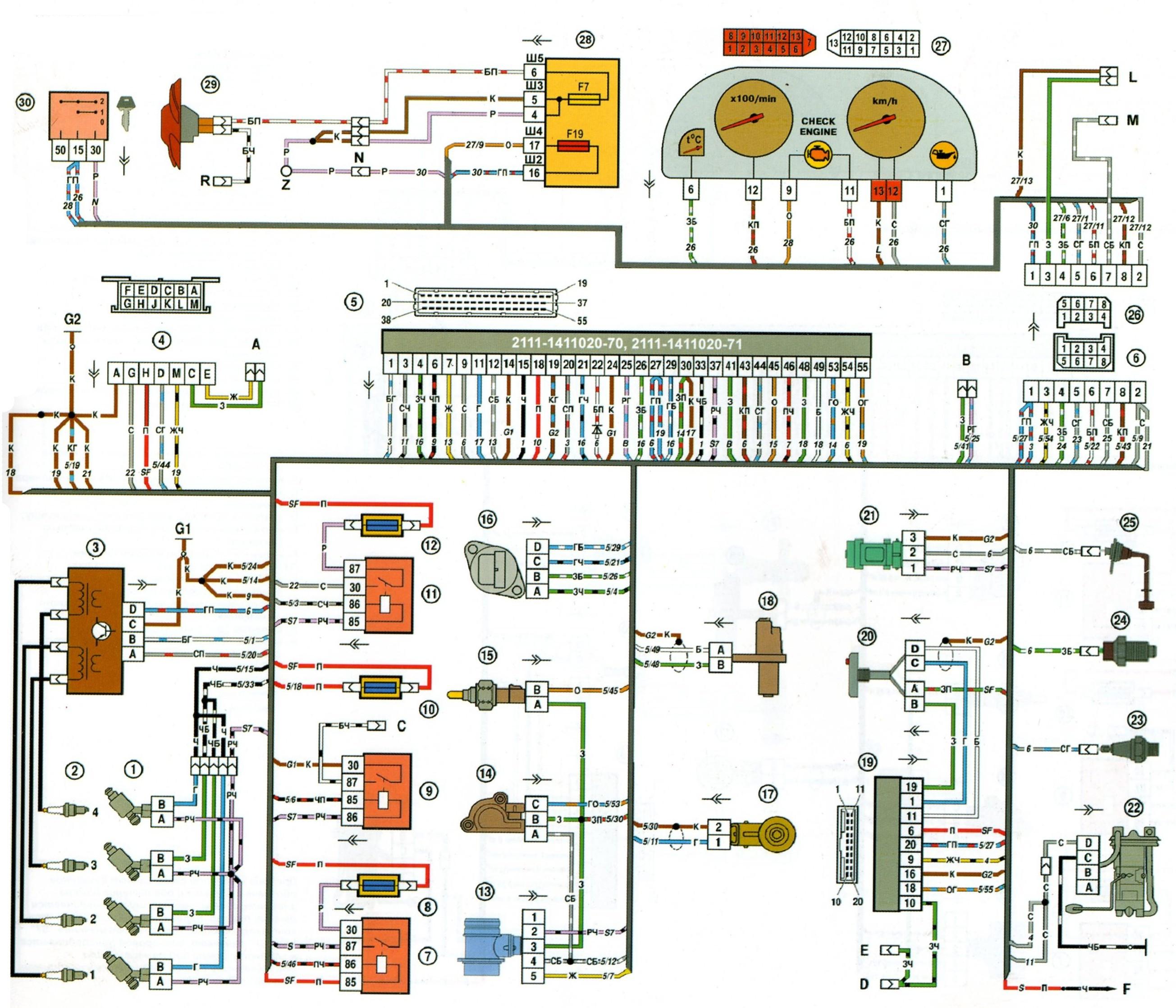 Вот схемка января 5 для 2110 и схема проводки с низкой панелью.