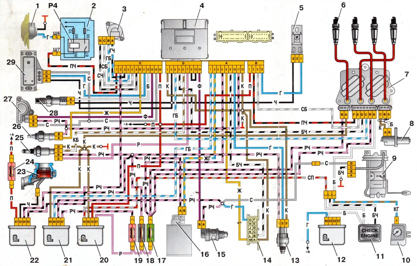 схема подключения датчика температуры на ваз 21093